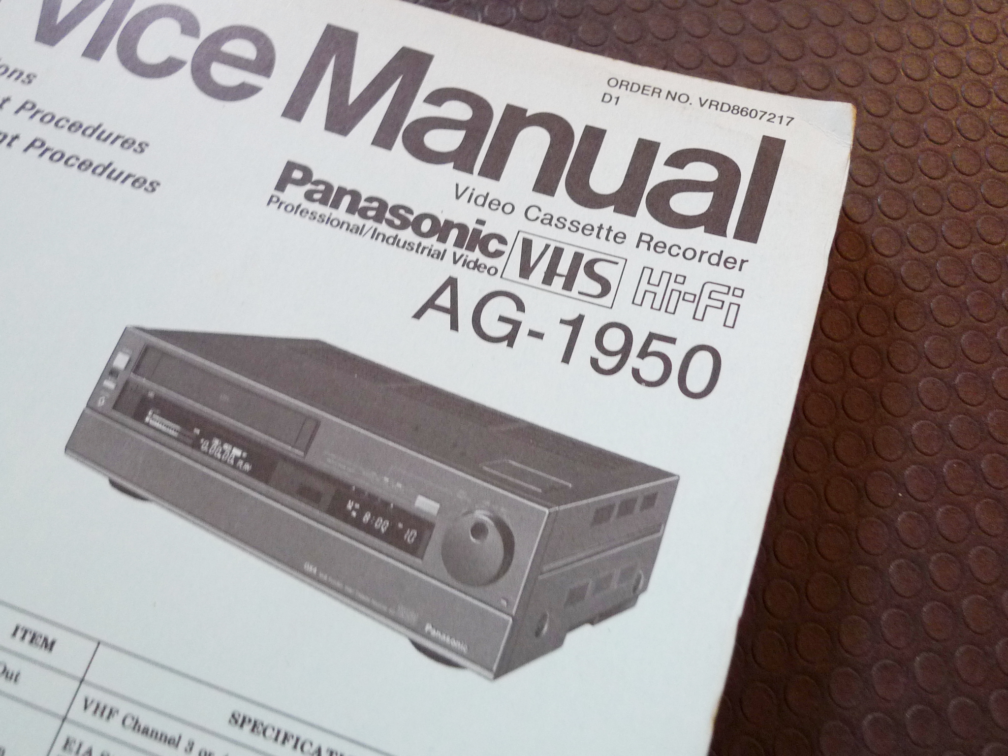 ... Array - vintage panasonic ag 1950 video cassette recorder service manual  ebay rh ebay com